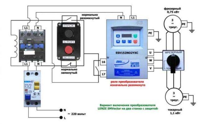 Схема подключения частотного преобразователя для двух электродвигателей
