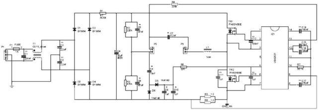 Схема электронного балласта на микросхеме UBA2021 фирмы NXP. Рабочая частота 39 кГц