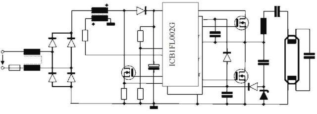 Балласт с микросхемой ICB1FL02G и частотой 40 кГц
