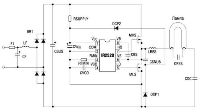 ЭПРА на базе IR2520D фирмы IR с диапазоном рабочей частоты от 35 кГц до 80 кГц