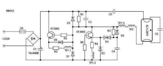 Схема электронного балласта для ламп дневного света на базе транзисторных ключей