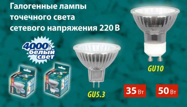 Галогенные лампы на 220 В могут быть небольшого размера