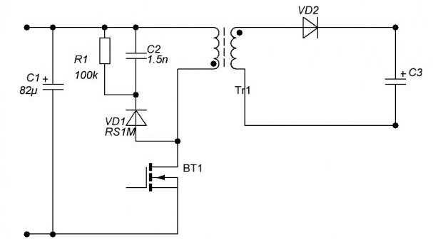 Схема блока силового трансформатора для ИБП