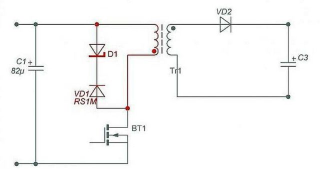 Еще один вариант блока силового трансформатора с использованием супрессора (защитного диода) D1