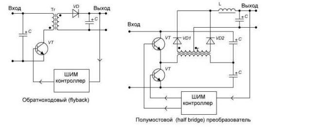 Схема ИИП с ШИМ контроллером для обратноходового и полумостового преобразователей
