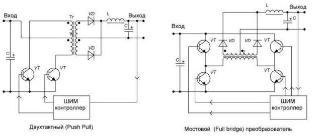 Устройство импульсного источника напряжения с ШИМ контроллером и двухтактным и мостовым выпрямителем