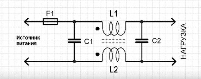 Схема простейшего входного фильтра
