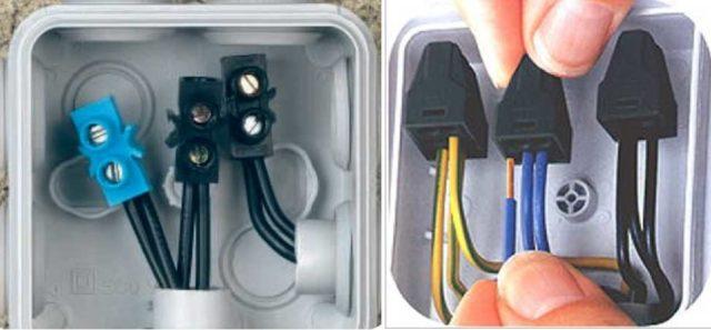 Несколько видов клеммных колодок для соединения проводов