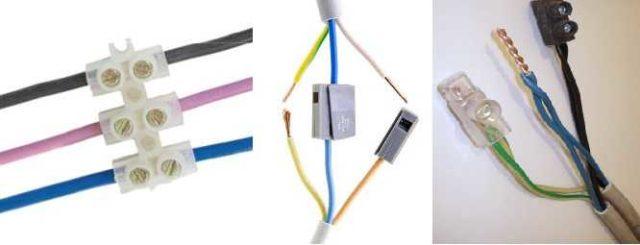 Несколько видов клеммных зажимов (колодок) для соединения проводов
