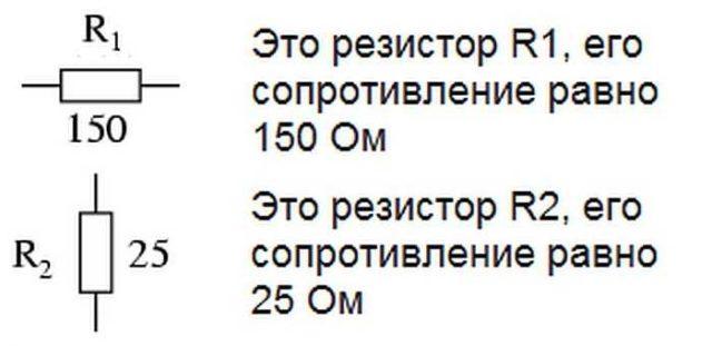 Обозначение резисторов на схеме с указанием номинального сопротивления