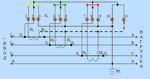 Подключение счетчика электроэнергии через трансформаторы тока по схеме звезда