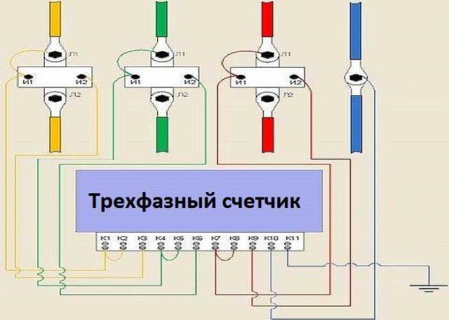 Клеммы для подключения проводов обычно располагаются в указанном на рисунке порядке, но лучше проверить по паспорту конкретного счетчика