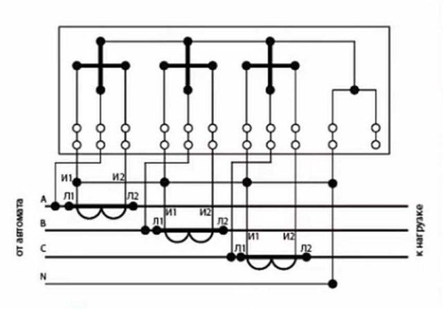 Десятипроводная схема подключения трехфазного счетчика через трансформаторы тока