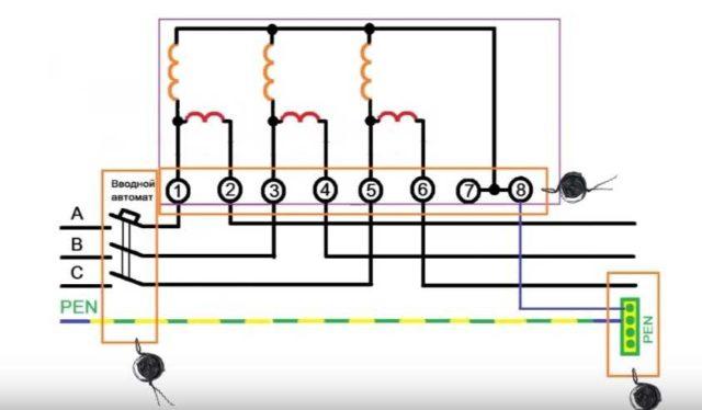 Вторая схема подключения трехфазного счетчика прямого типа