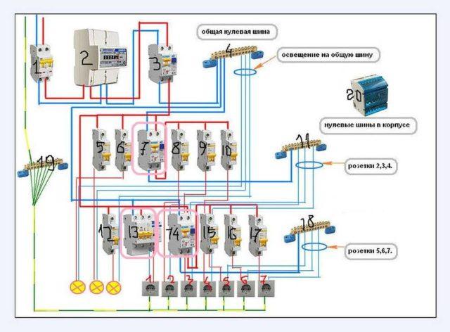 Схема подключения УЗО: пример для однофазной сети