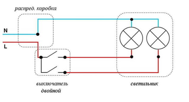 Подключение выключателя с подсветкой: схема для модели с двумя клавишами