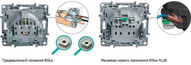 Разъемы на выключателях Legrand для подключения проводов. Слева - стандартные винтовые зажимы Etika, справа - автоматические зажимы Etika Plus