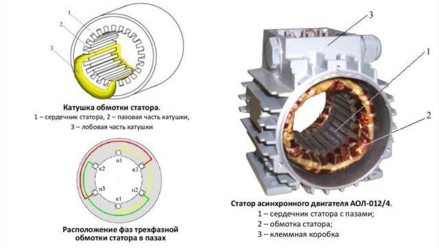 Укладка катушек обмотки статора асинхронного двигателя