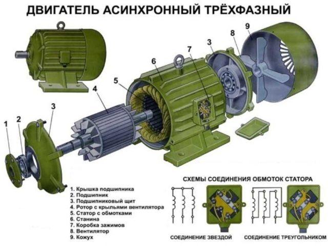 Как устроен асинхронный двигатель: устройство и компоновка деталей