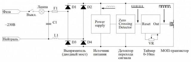 Схема диммера для светодиодных ламп (без трансформатора на железном сердечнике)