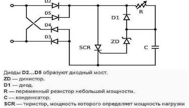 Простая схема светорегулятора на тиристоре