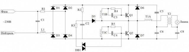 Схема универсального диммера для всех типов ламп