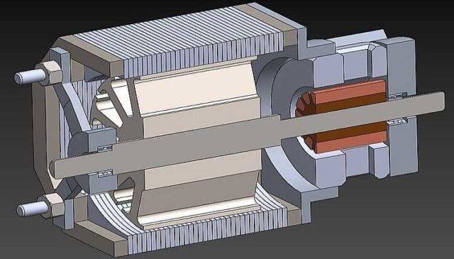 Универсальный коллекторный двигатель в разрезе