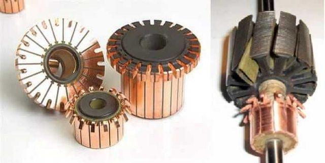 Коллектор имеет вид цилиндра, который набран из медных пластин. Пластины сделаны в виде секторов, разделены диэлектрическими прокладками