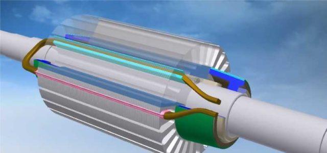 Обмотки на роторе подключаются к пластинам коллектора. Когда с пластинами контактируют щетки, получаем замкнутый контр, по которому течет ток