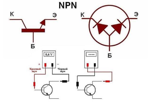 Проверка работоспособности биполярного NPN транзистора мультиметром