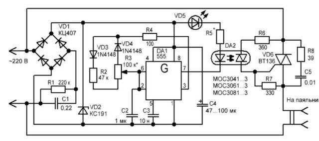 Регулятор мощности паяльника на оптосимисторах