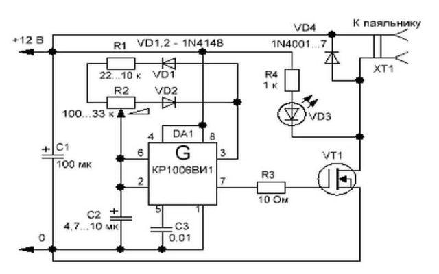 Регулятор паяльника на ШИМ контроллере и полевом транзисторе