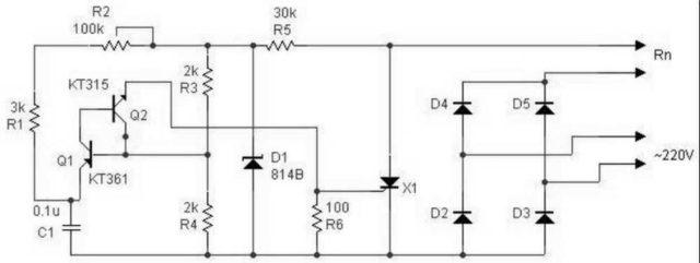 Схема регулятора температуры для паяльника на тиристоре
