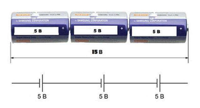 Последовательное подключение элементов питания (батареек)