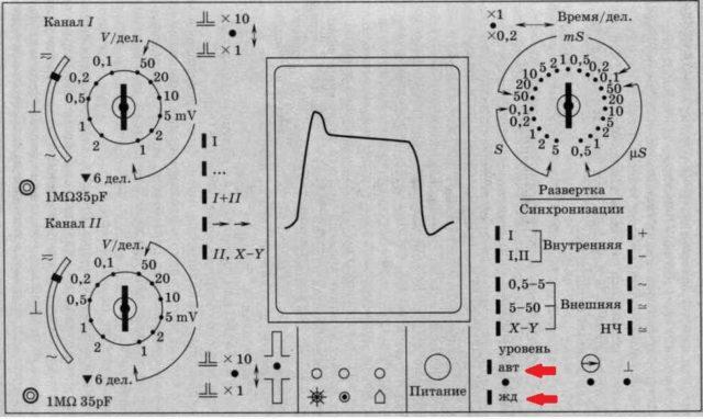 Осциллограф может работать в жательном и одиночном режиме ждущем, автоколебательном