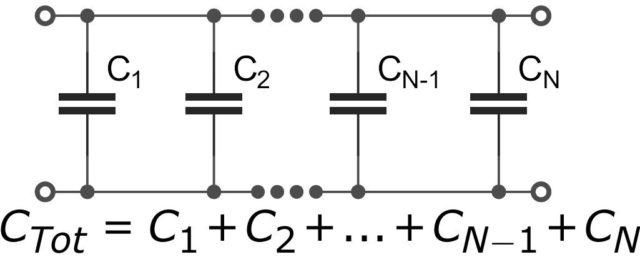Как рассчитать ёмкость при параллельном соединении конденсаторов