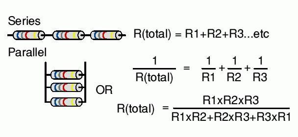 Формула дял соединения резисторов
