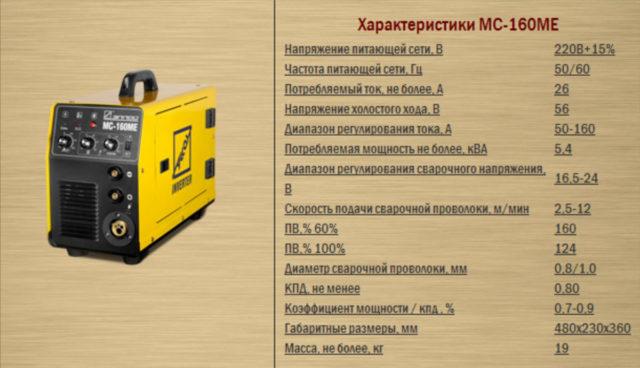 Характеристики сварочного инвертора МС-160МЕ