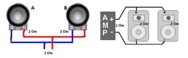 Параллельное подсоединение двух колонок на один канал/вход